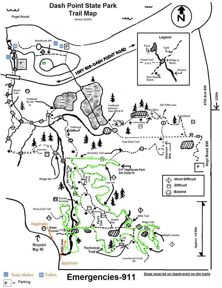 Map of Dash Point Trails